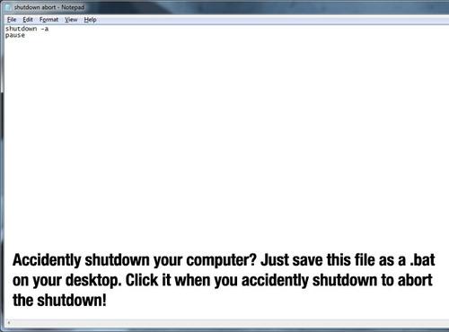 abort shutdown hack
