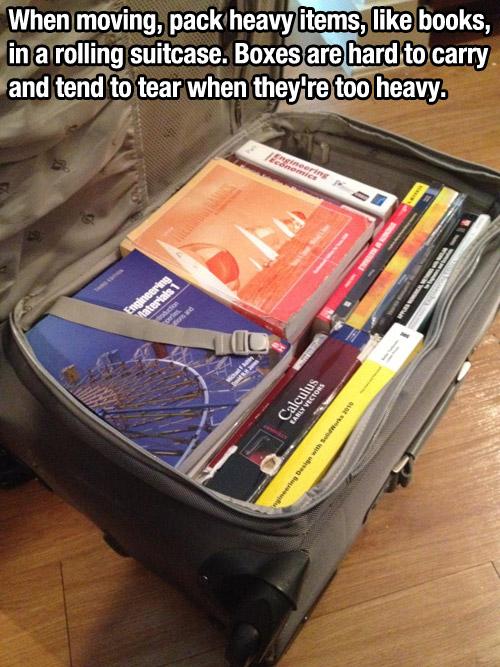books rollingsuitcase lifehack