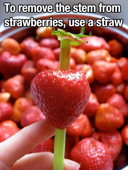 remove strawberry stem tip