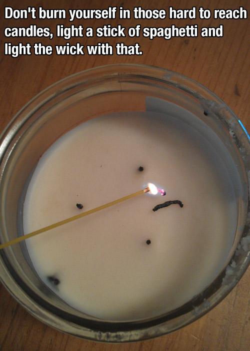spaghetti light candle tip
