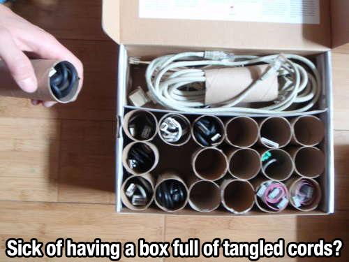 tangled cords lifehack