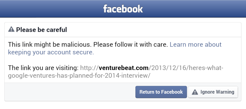 Venturebeat on Facebook Blacklist